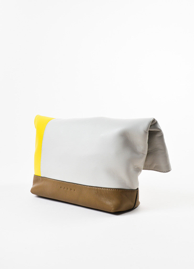 "Marni Yellow, Brown, and Grey Leather Colorblock ""Pod"" Fold Over Clutch Bag Sideview"