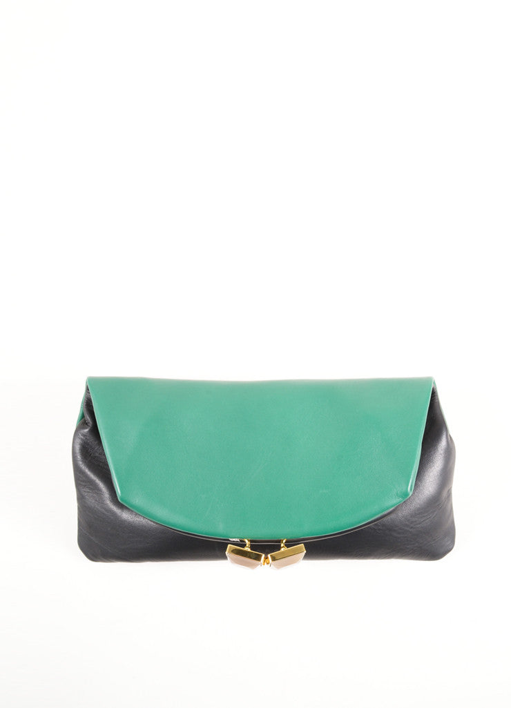 "Marni Green and Black Lamb Leather Foldover ""Muppets"" Clutch Bag Frontview"