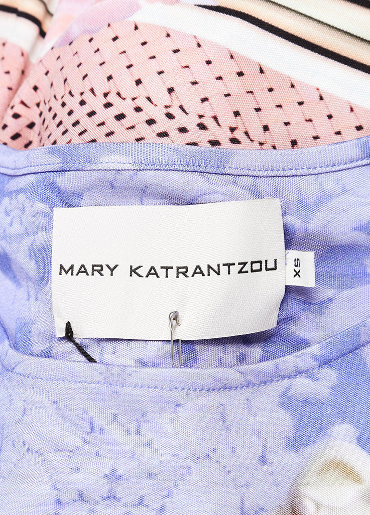 "Mary Katrantzou New With Tags Pink and Blue Silk Jersey Photo Print ""Powdy"" Dress Brand"