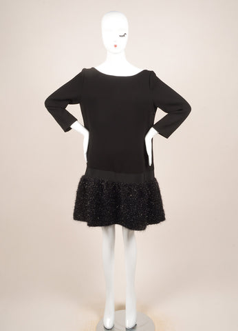 Moschino Black Metallic Tinsel Bottom Long Sleeve Shift Dress Frontview