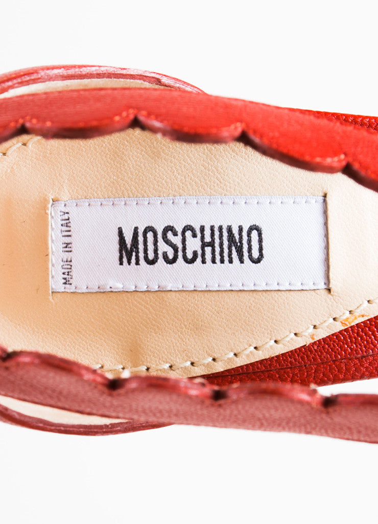 Moschino Red Leather Lace Up Chunky Heel Sandals Brand