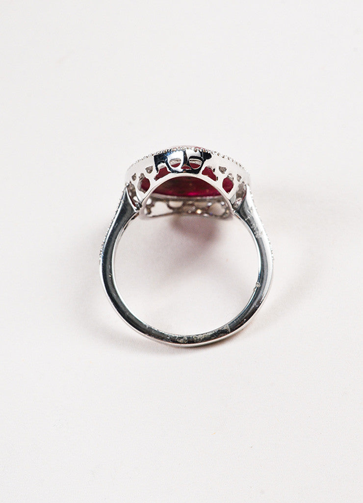 18k White Gold Pear Ruby Pave Diamond Tear Drop Cocktail Ring Topview