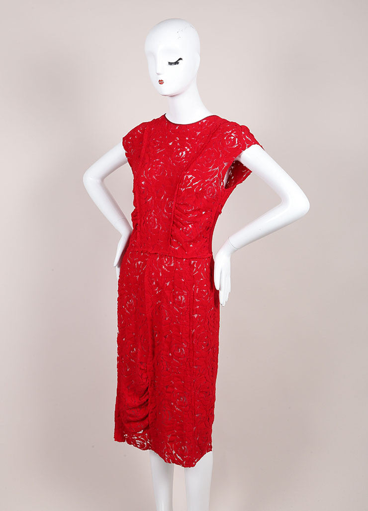 Nina Ricci Red Floral Lace Sleeveless Dress Sideview