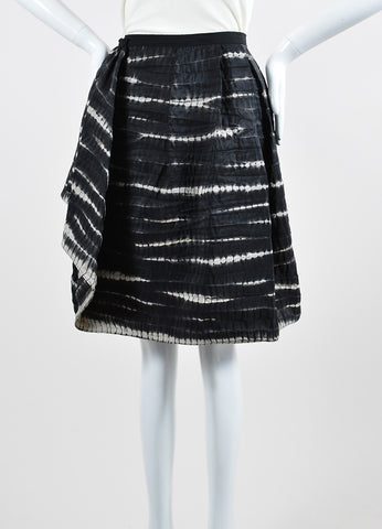 Oscar de la Renta Black Gray Silk Organza Pleated Striped Tiedye Skirt Front 2