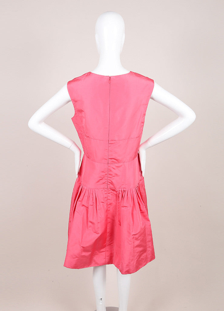 Oscar de la Renta Pink Silk Taffeta Pleated Bust and Drop Waist Sleeveless Dress Backview