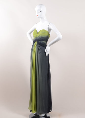 Pamella Roland Green and Black Ombre Silk Chiffon Strapless Gown Sideview