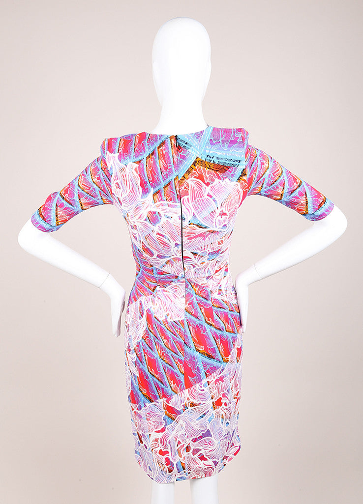 "Peter Pilotto New With Tags Pink and Blue Floral Ombre Half Sleeve ""Grid"" Dress Backview"
