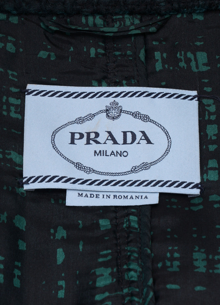 Prada Black and Green Wool Tweed Plaid Long Sleeve Blazer Jacket Brand