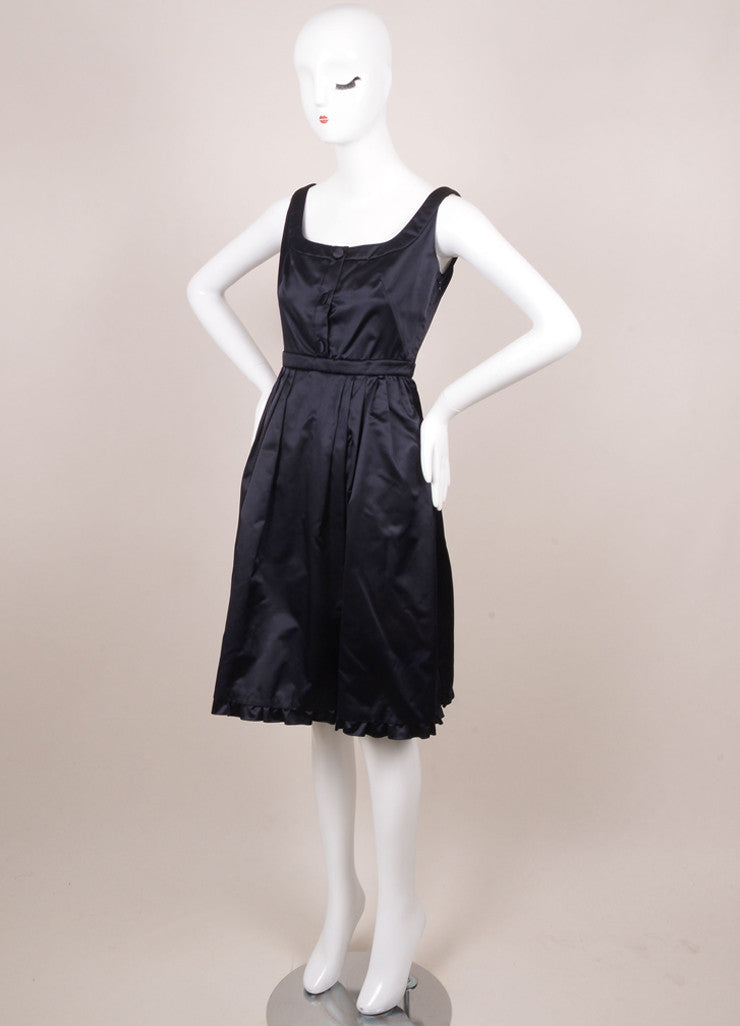 Prada Navy Silk Fit and Flare Ruffle Sleeveless Dress Sideview