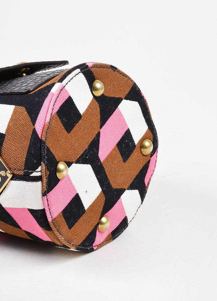 å´?ÌÜPrada Pink, Brown, and White Print Canvas Leather Bucket Shoulder Bag Bottom View