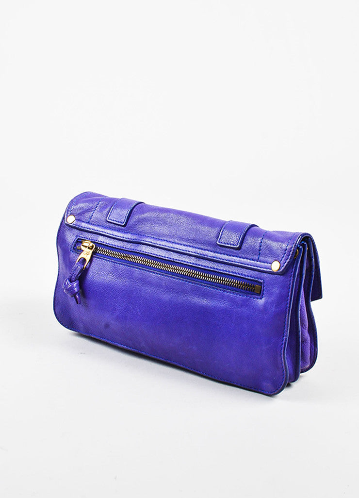 "Proenza Schouler Purple Leather Flap Tab Strap ""PS1 Pochette"" Clutch Bag Sideview"