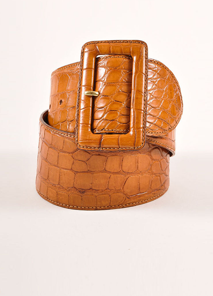 Ralph Lauren New With Tags Brown Alligator Leather Wide Belt Frontview