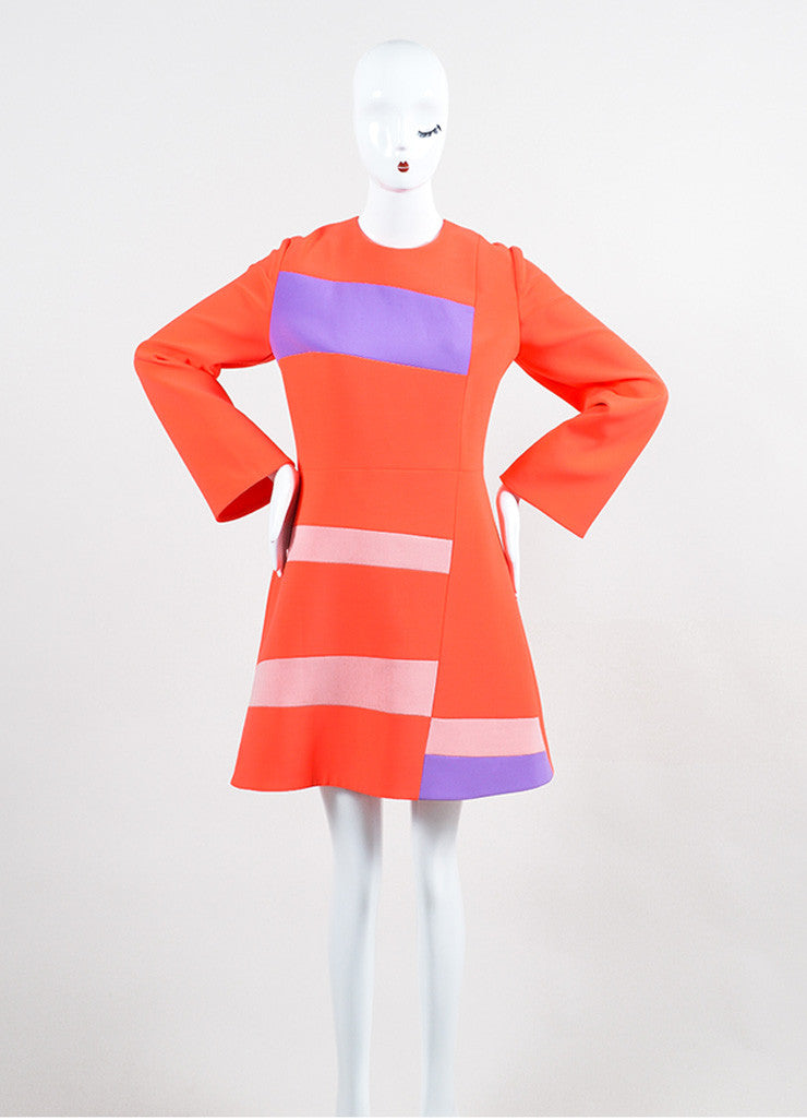 "Coral and Lavender Roksanda Color Block Crepe ""Albin"" A-Line Dress Frontview"
