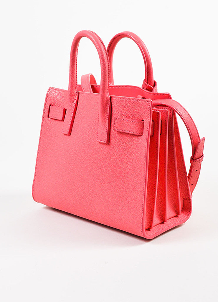 "Saint Laurent Pink Grain Leather ""Nano Sac de Jour"" Bag Back"