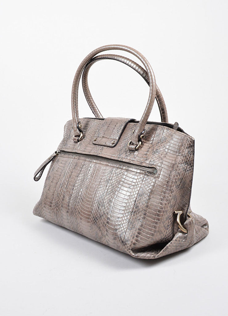 "Silver-Grey Metallic Python Salvatore Ferragamo ""Sophia"" Tote Bag Sideview"
