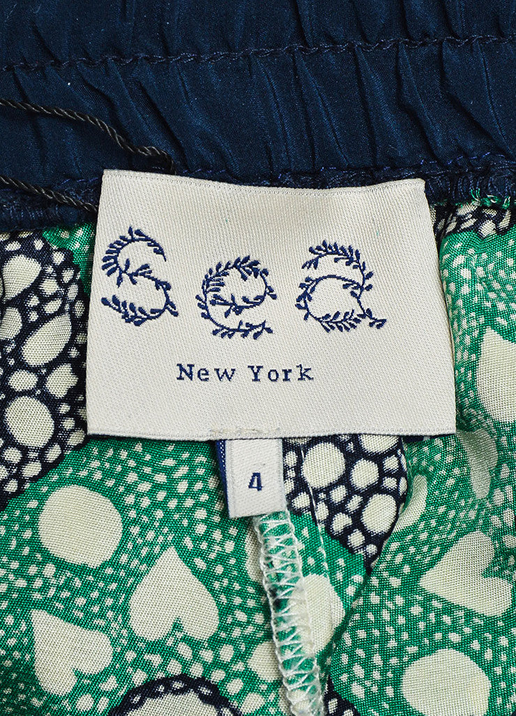 Sea Green, Navy, and Beige Silk Drawstring Kaleidoscope Pants Brand
