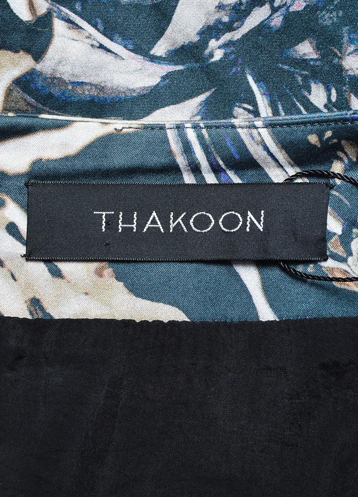 Thakoon Green Multicolor Blue Leather Panel Floral Panel Pleated Skirt Brand