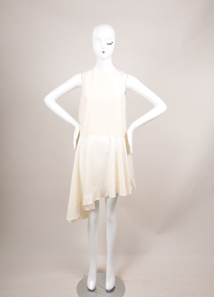 "The Row Cream Silk Sleeveless Asymmetric ""Raya"" Tunic Dress Frontview"
