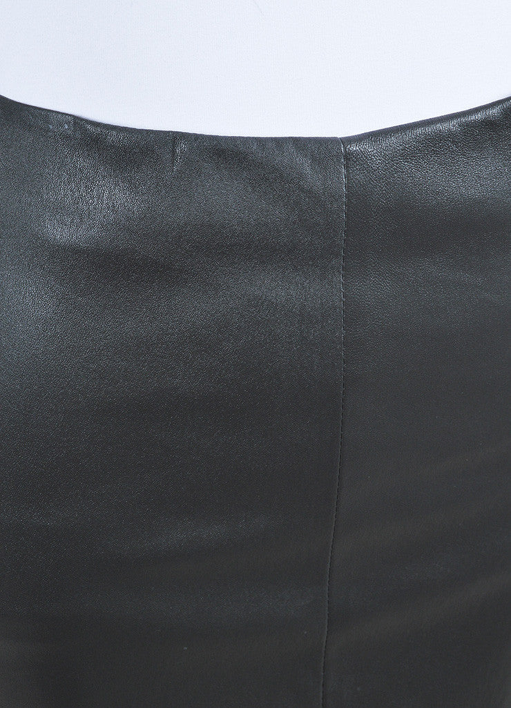 "The Row Charcoal Grey Stretch Leather ""Fistian"" Pencil Skirt Detail"