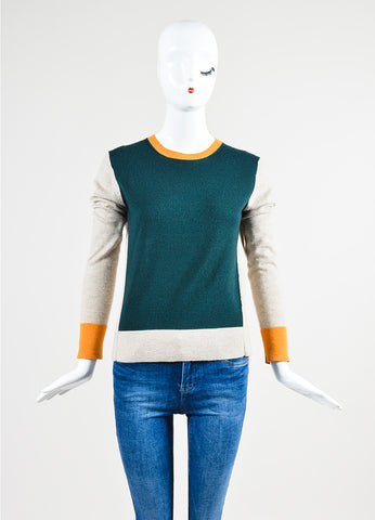 The Row Oatmeal Beige, Bright Orange, and Teal Green Color Block Sweater Frontview