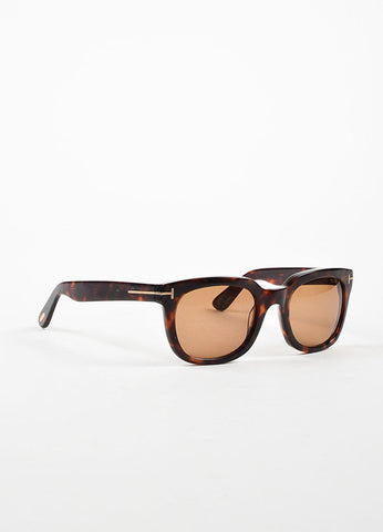"¥éËTom Ford Brown Tortoiseshell ""Campbell"" Square Thick Frame Sunglasses Sideview"