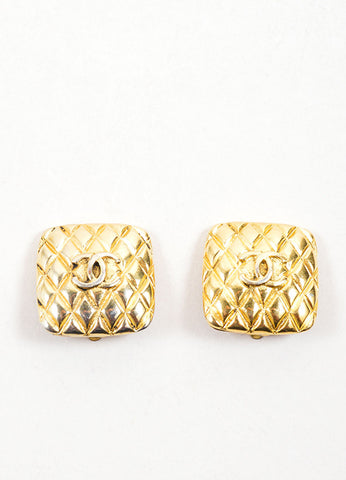 "Chanel Gold Toned Quilted ""CC"" Square Earrings Frontview"