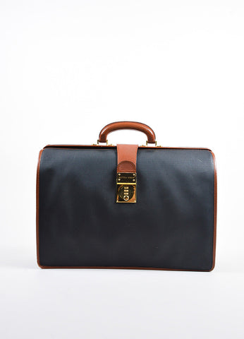Bottega Veneta Black and Brown Leather Textured Combination Lock Doctors Bag Frontview