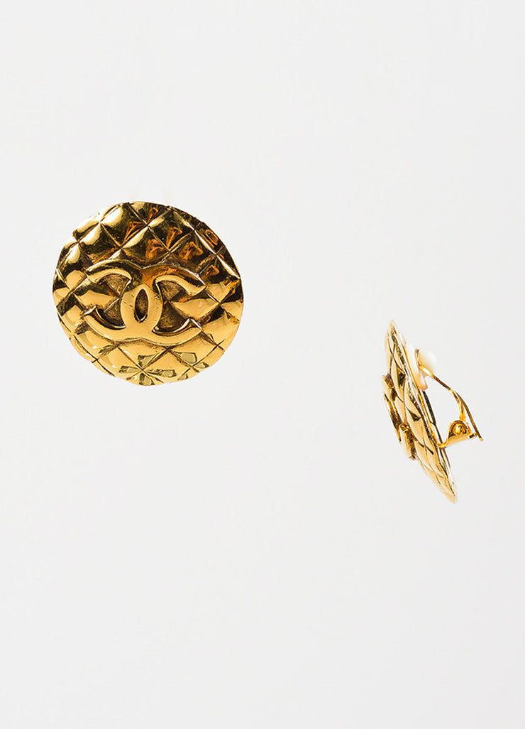 Chanel Gold Toned Metal 'CC' Quilted Round Clip On Earrings Sideview
