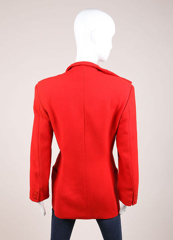 Gianni Versace Red Wool Jacket Backview