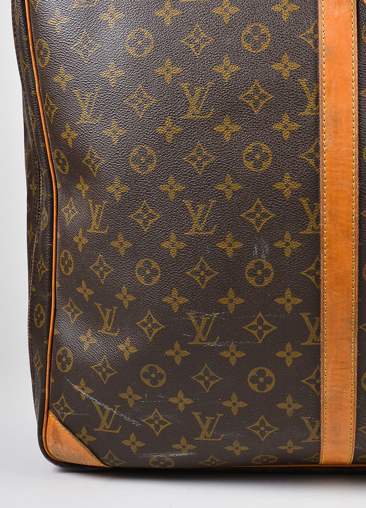 "Louis Vuitton Brown and Tan Canvas and Leather Monogram ""Sirius 60"" Suitcase Detail 5"