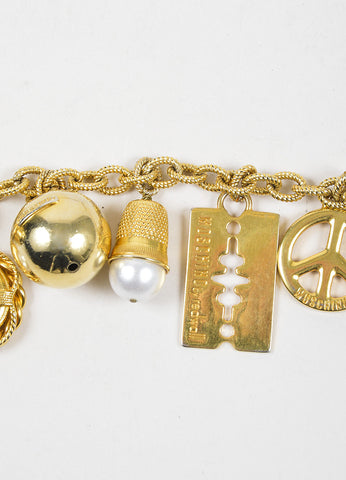Moschino Gold Toned Faux Pearl Charm Chain Belt Detail