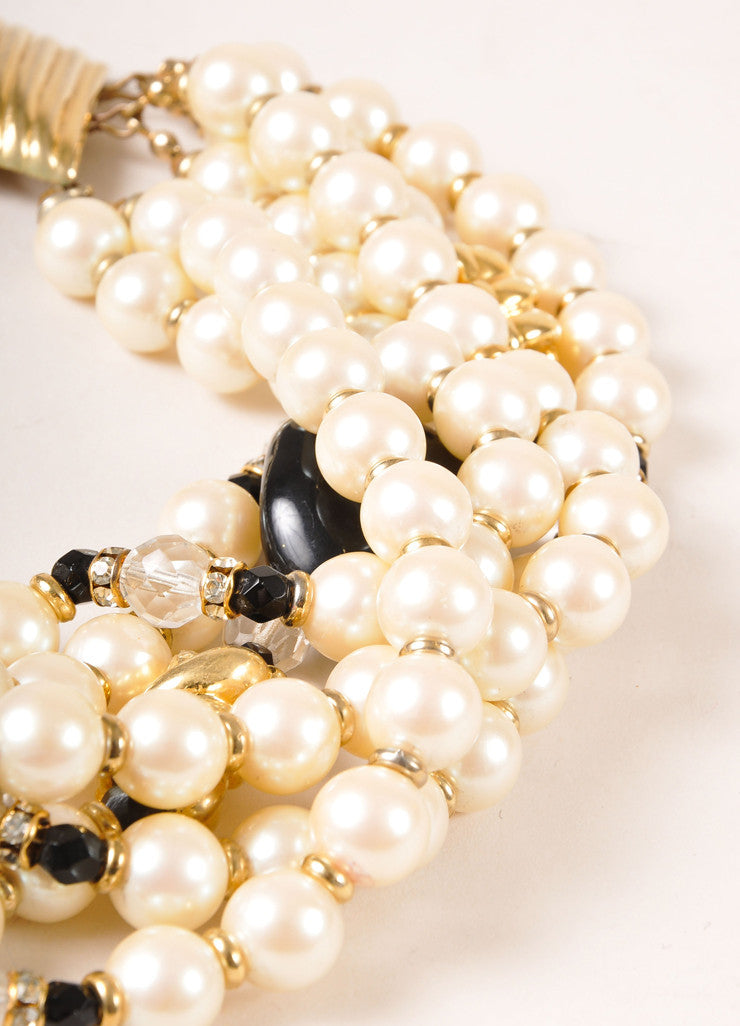 Yves Saint Laurent Black, Cream, and Gold Toned Faux Pearl Bead Multi-Strand Necklace Detail