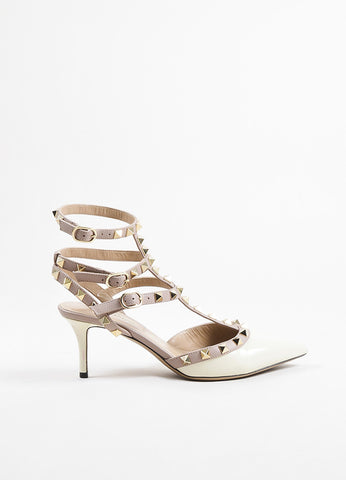 Valentino Beige, Cream, and Gold Toned Patent Leather Rockstud Pumps Sideview