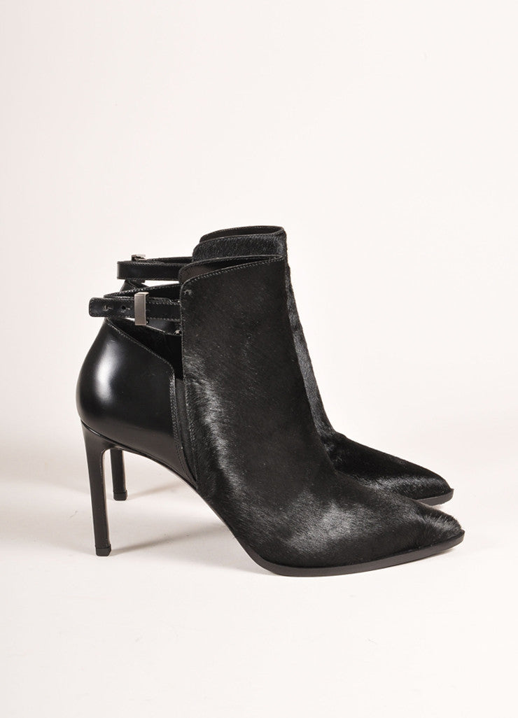 "Vince New In Box Black Leather Pony Hair Pointed Toe Heeled ""Calla"" Booties Sideview"