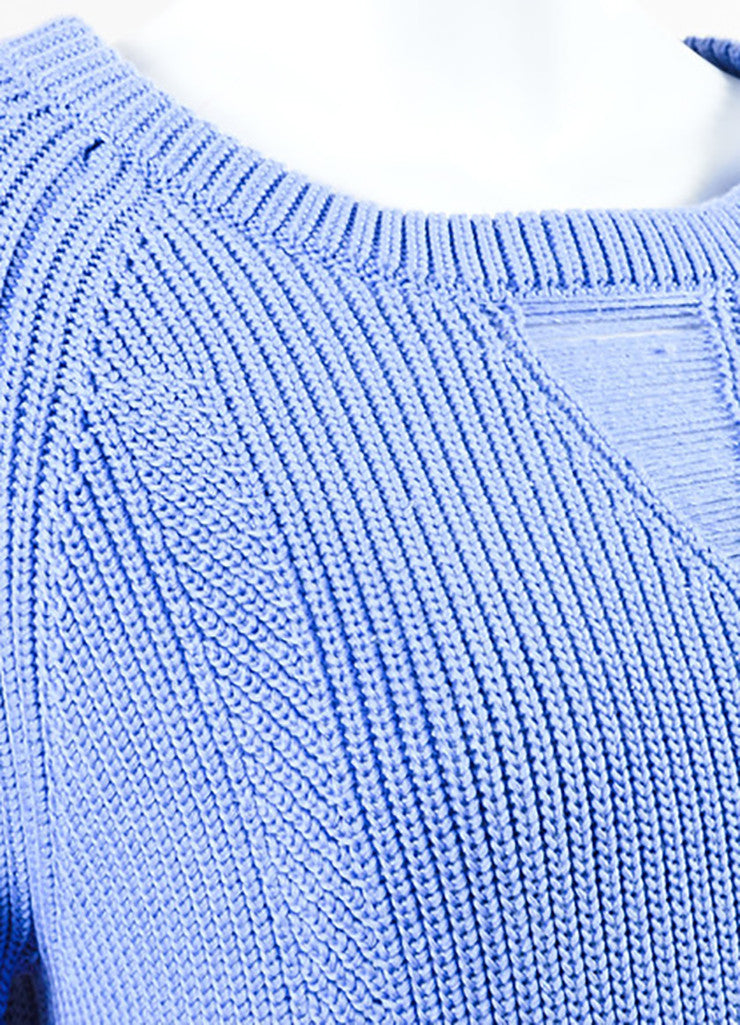 Wes Gordon Periwinkle Blue Cotton Silk Knit Pullover Sweater Detail