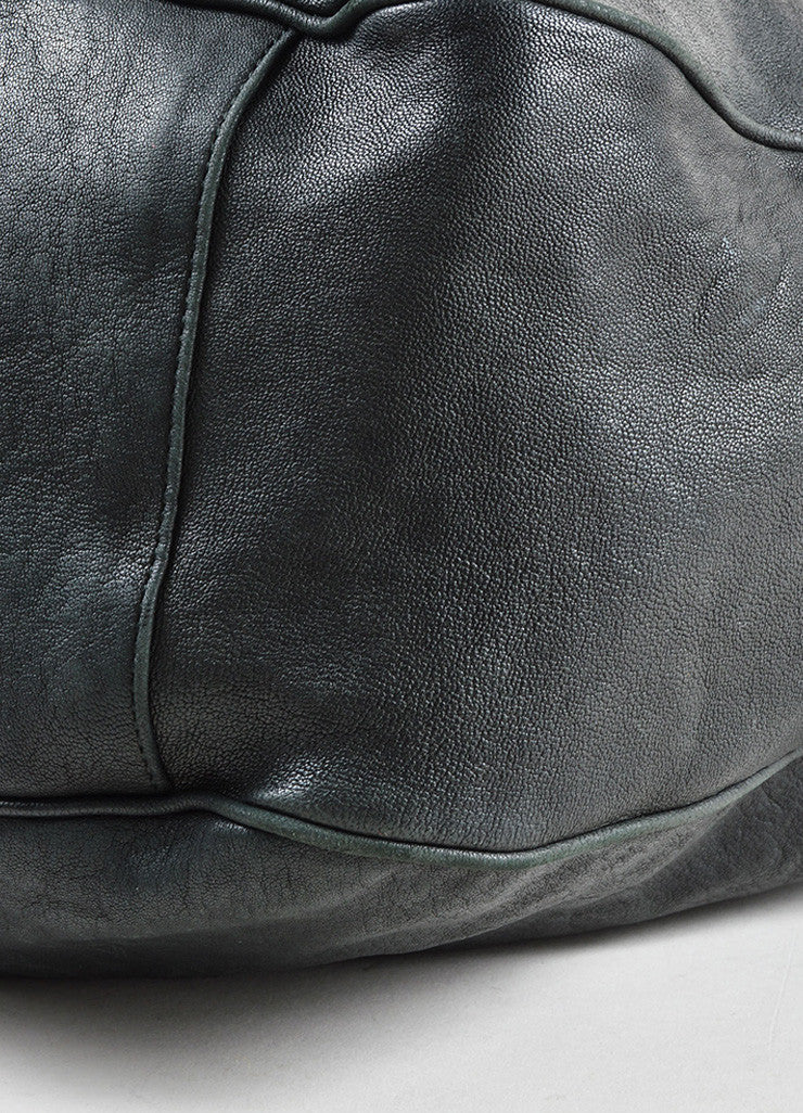 "Yves Saint Laurent Black and Silver Toned Leather ""Roady"" Hobo Bag Detail"