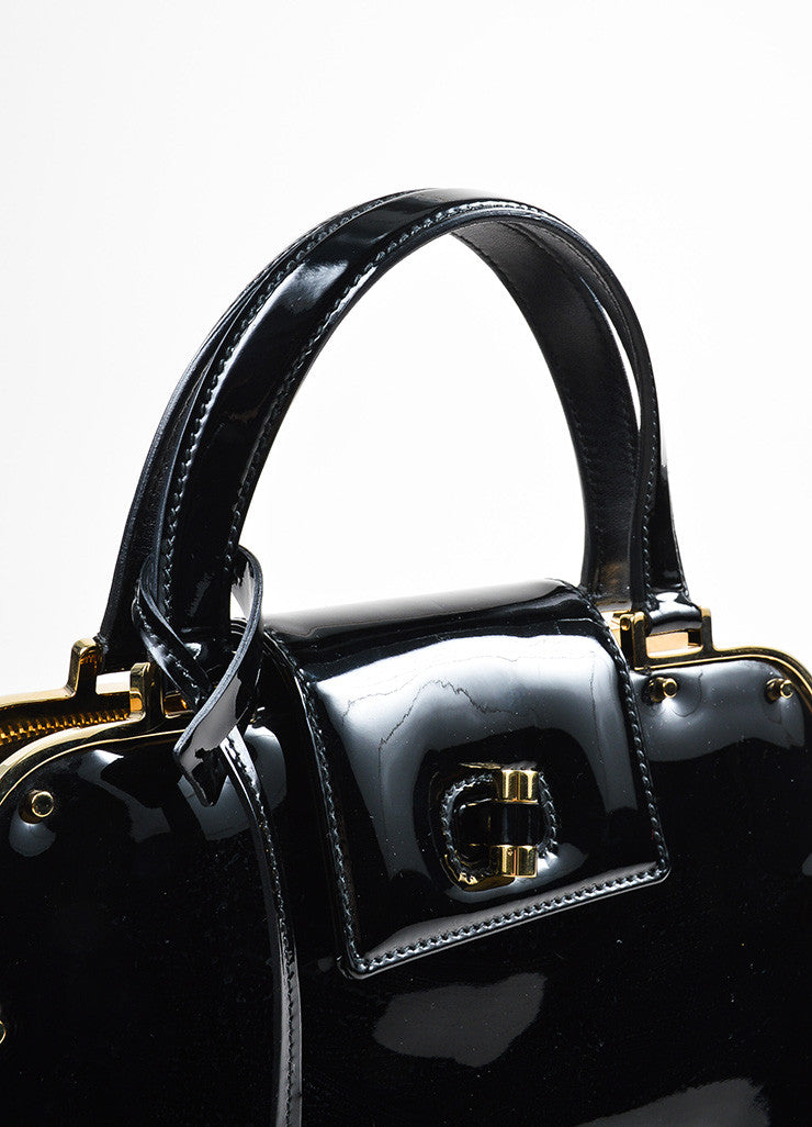 "Black and Gold Toned Yves Saint Laurent Rive Gauche Patent Leather ""Uptown"" Handbag Detail 2"