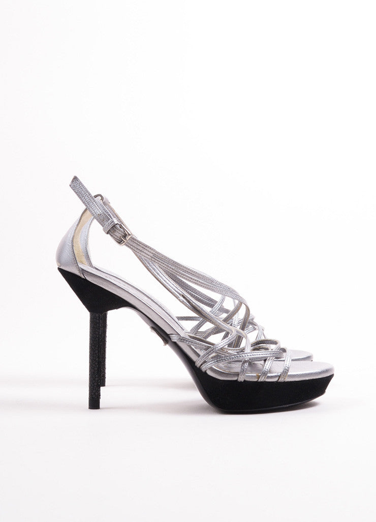 Yves Saint Laurent Silver and Black Metallic Leather Suede Trim Sandals Sideview