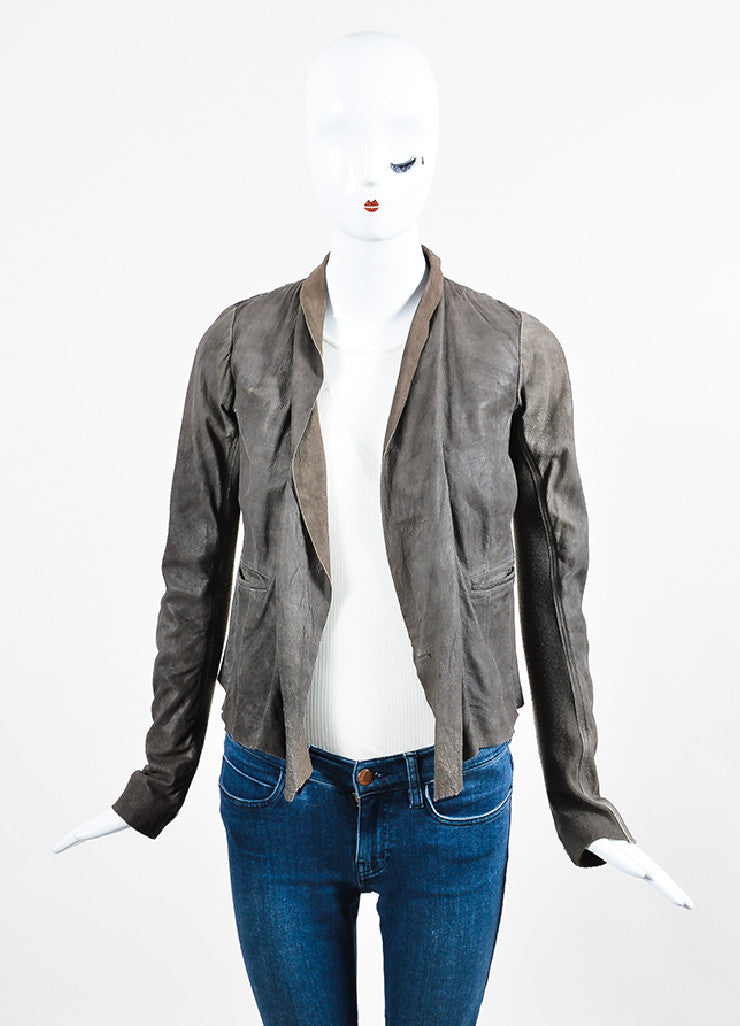 Taupe •ÈÀRick Owens Leather Knit Panel Draped Open Jacket Frontview