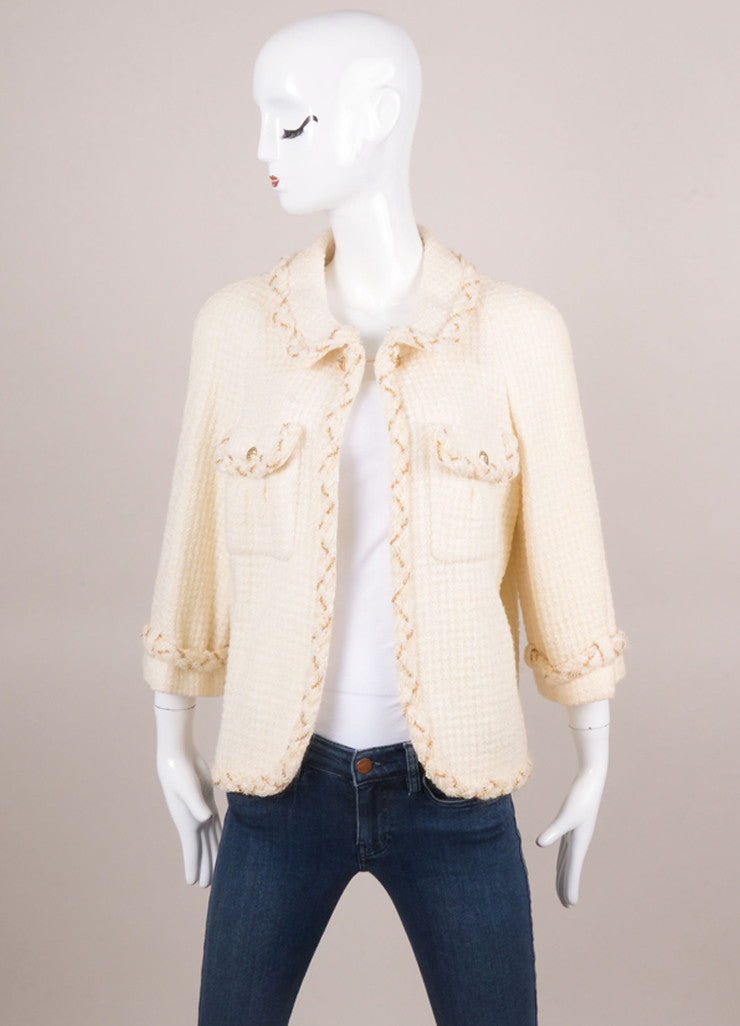 New With Tags Cream Wool Tweed Skirt Suit With Gold Chain Detail