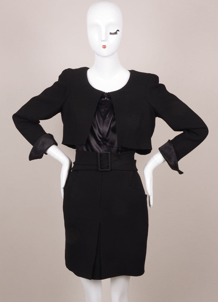 Chanel Black Silk and Wool Zip Front Belted Long Sleeve Dress Frontview