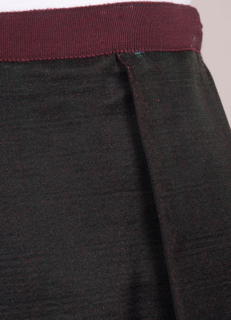 Black, Green, and Blue Colorblock Pleated Skirt