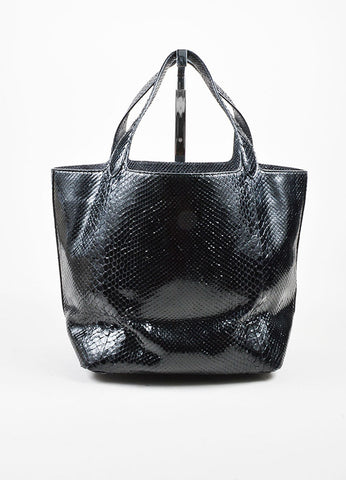 Alaia Black Snakeskin Leather Tote Bag Frontview