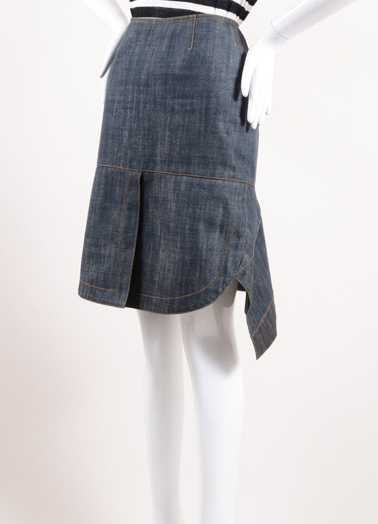 Alaia Blue Cotton Pleated Back Slit Knee Length Denim Skirt Sideview