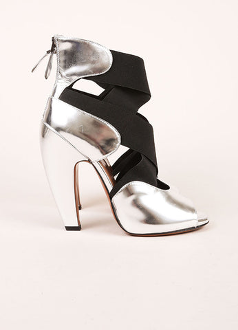 Alaia New In Box Silver Metallic Black Elastic Strap Peep Toe Leather Ankle Heels Sideview
