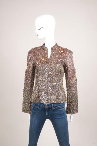 Badgley Mischka Burgundy and Multicolor Sequin Beaded Embellishment Long Sleeve Jacket Frontview