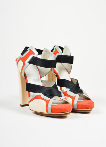 Red and Black Balenciaga Leather Elastic Crisscross High Heel Sandals Frontview
