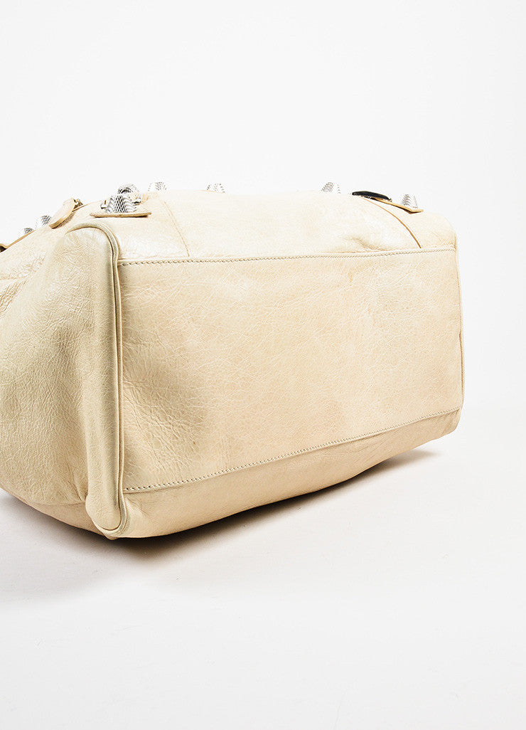 "Balenciaga Beige Distressed Leather ""Giant Midday"" Silver Toned Stud Shoulder Bag Bottom View"