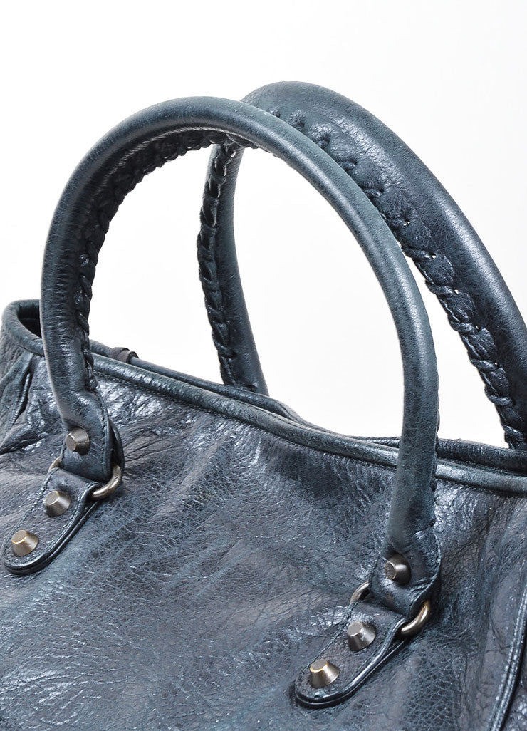 "Black Balenciaga Distressed Leather ""Sunday"" Oversized Tote Bag Detail 2"