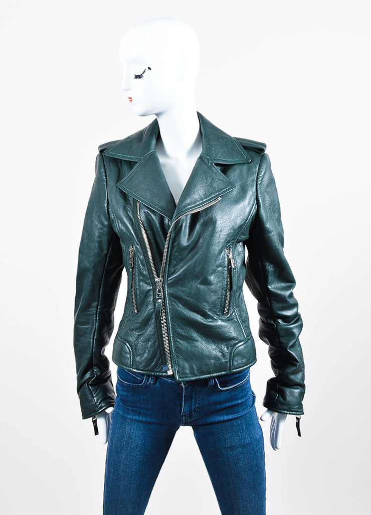 Dark Green Balenciaga Leather Long Sleeve Moto Jacket Frontview